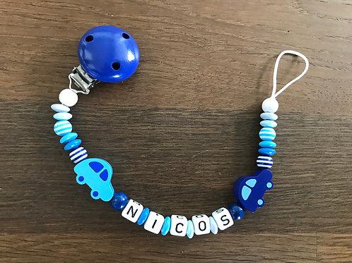 Selbstgemachte Nuggiketten mit Namen, Nuggiketten aus Holz, Schweizer Produkt, Schnullerkette, Nuckiketten, Produkt Nicos