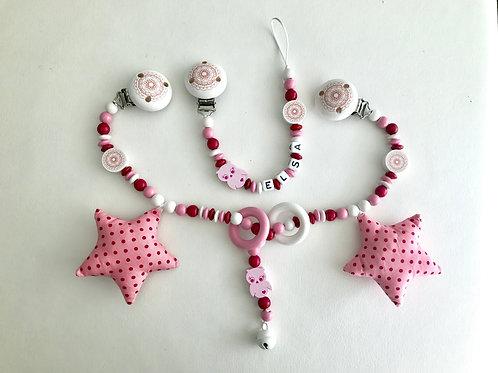 Set Nuggikette und Kinderwagenkette, Selbstgemacht,  Baby, Geschenk, Schnullerkette, Swiss Made, Selbstgemacht, Elsa