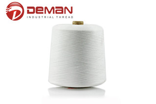 Spun polyester yarn for sewing thread