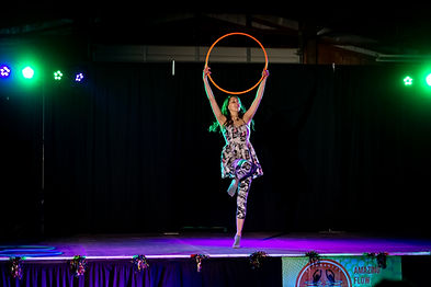 Jessica Short Hula Hoop Performer on sta