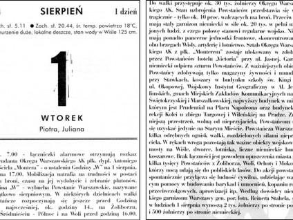 Kartka z kalendarza - dzień 1- Powstanie Warszawskie