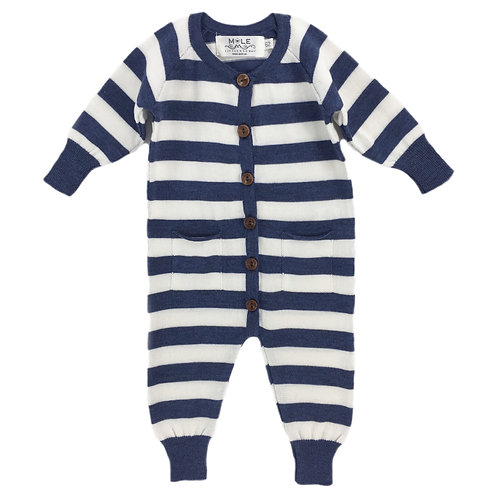 201425 Stripe babysuit midnight blue