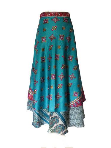 jupe ethnique soie bleue