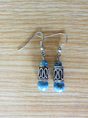 Boucle d'Oreille Rajasthani Perle Turquoise