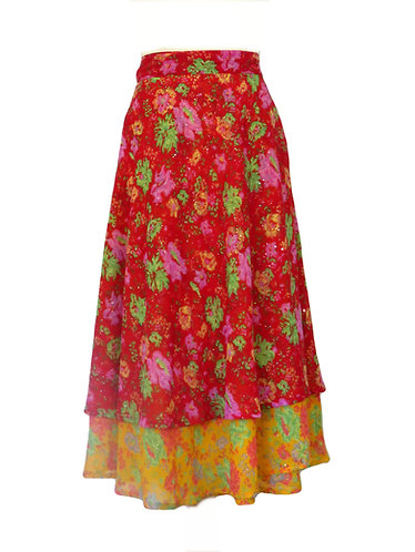 jupe hippie rouge