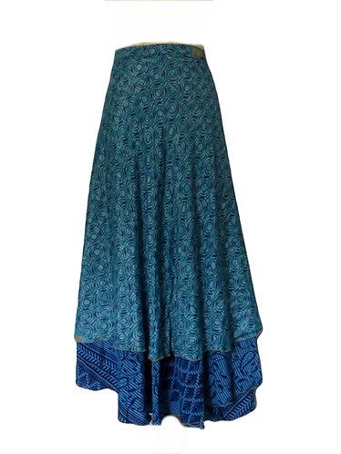 jupe hippie soie bleue
