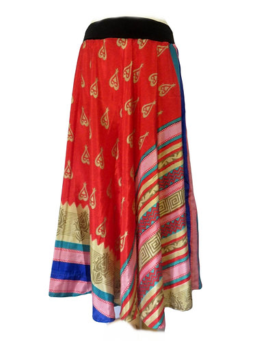 jupe ethnique soie rouge