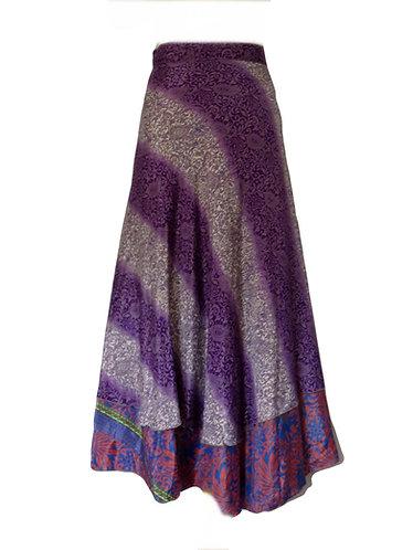 jupe ethnique soie violet