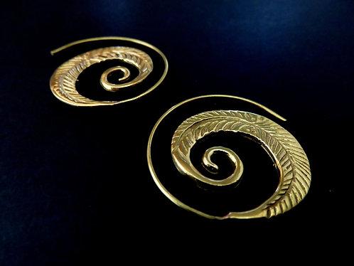Boucle d'Oreille Spirale Plume