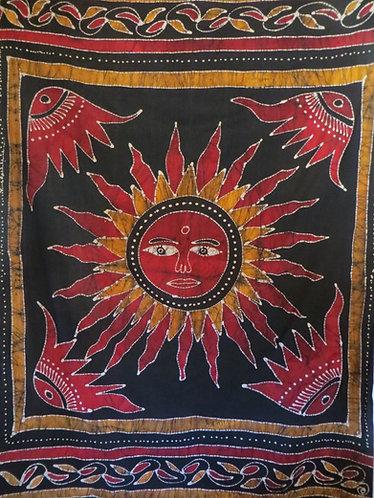 Tenture Batik Soleil Noir