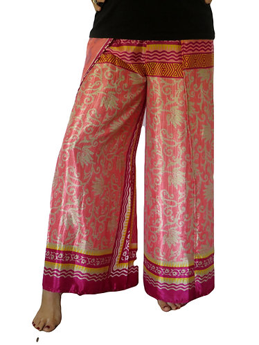 pantalon femme soie rose