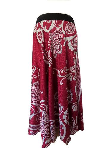 jupe soie rouge