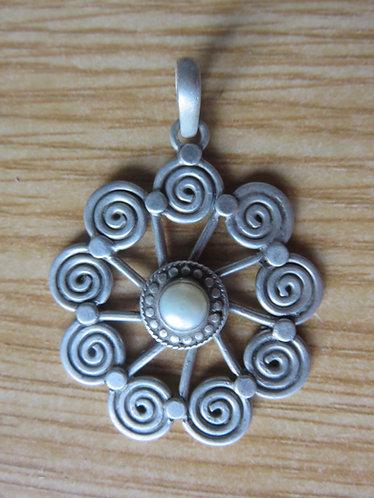 Pendentif Spirale Soleil Argent