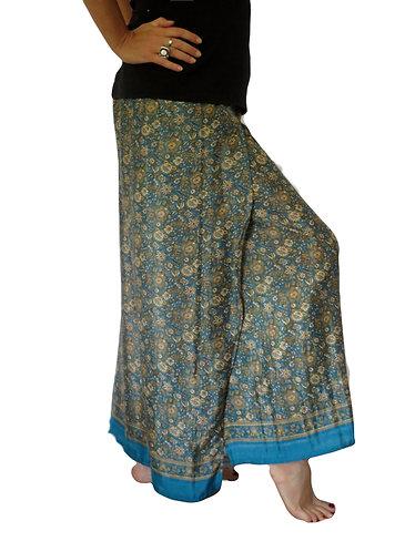 pantalon femme soie bleue