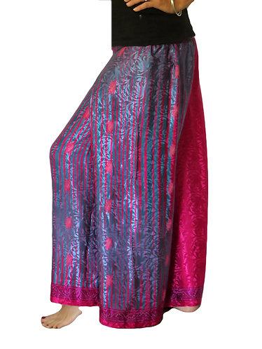 pantalon femme soie rouge