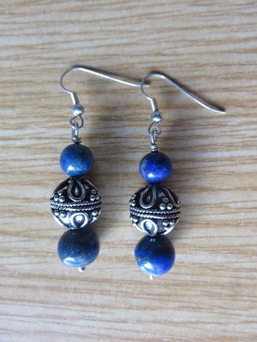 Boucle d'Oreille Argent Lapis Lazuli