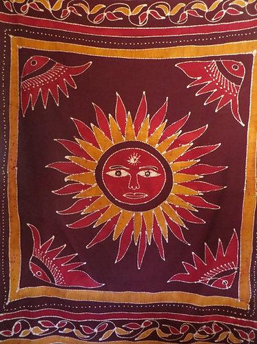 Tenture Batik Soleil Bordeaux