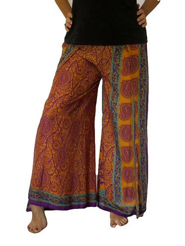 pantalon femme soie marron