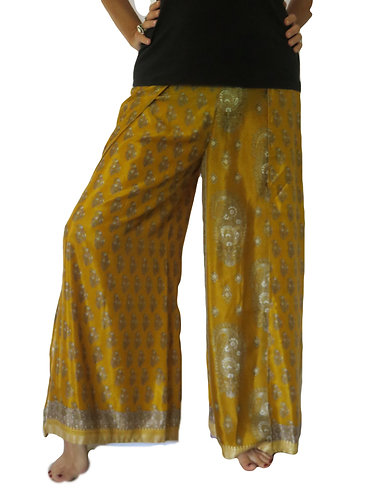 pantalon femme soie jaune