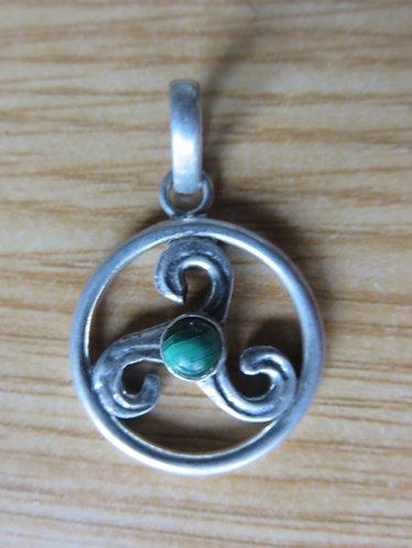 Pendentif Celtique Argent Malachite