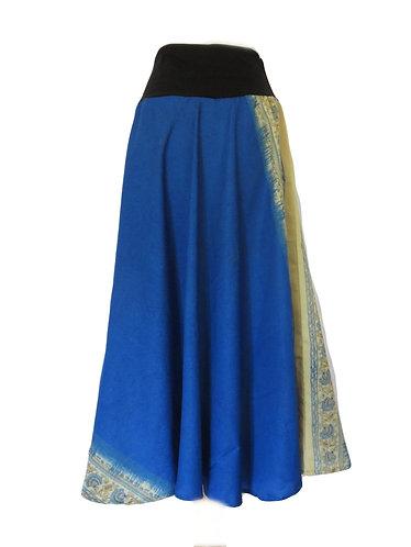 jupe soie ethnique bleue