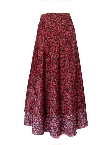 jupe hippie soie rose