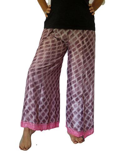 pantalon femme soie violet