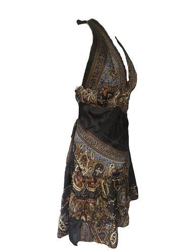 robe ethnique noire marron