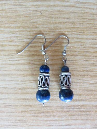 Boucle d'Oreille Rajasthani Perle Lapis lazuli