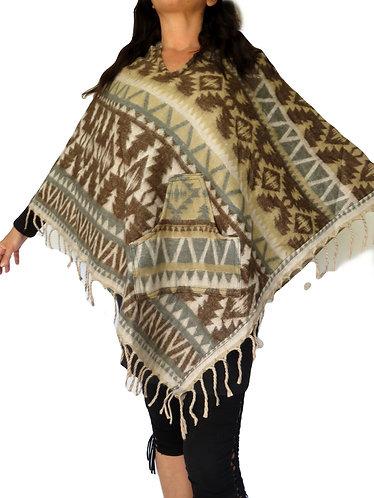 poncho aztec laine