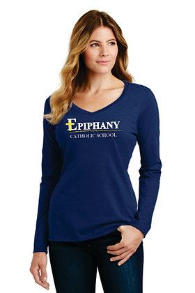 Womans Port & Company 100% Cotton Vneck LS Tshirt LPC450VLS (6 Logo Options)