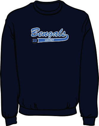 Standard Sweatshirt w/Hockey Puck - Navy Blue with White & Columbia Blue Twill
