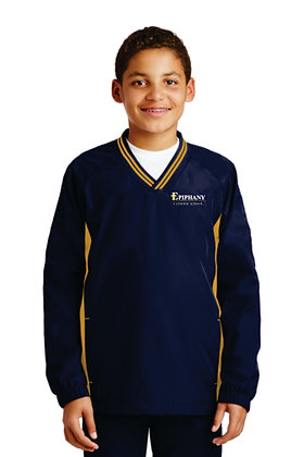 Youth Vneck Raglan Wind Jacket YST62 - Embroidered (2 Color & 4 Logo Options)