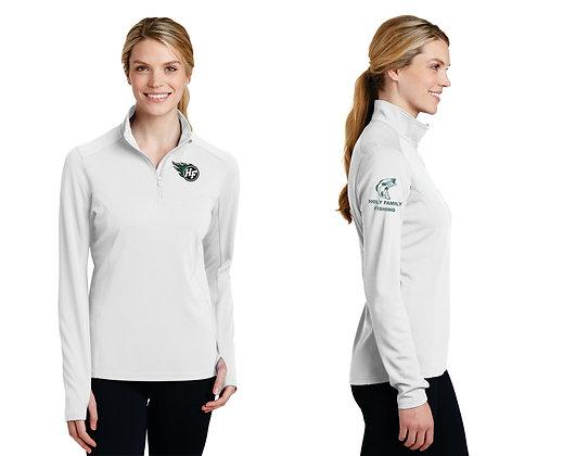 Ladies 1/4 Zip SportTek LST860 Textured Pullover (White)