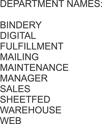 Department Name Added Below Logo ($1.00 per item)