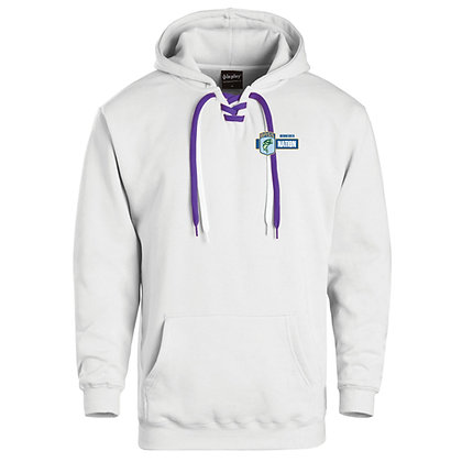 Lace Up Hoodie 50/50 Blend - Embroidered Left Crest
