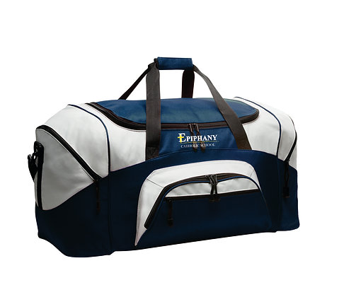 Sm Duffel Bag BG990S Embroidered - Navy/Grey only (2 Logo Options)