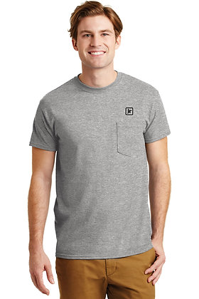 Gildan 8300 50/50 Dry Blend Pocket SS Tshirt with Screen Printed Logo