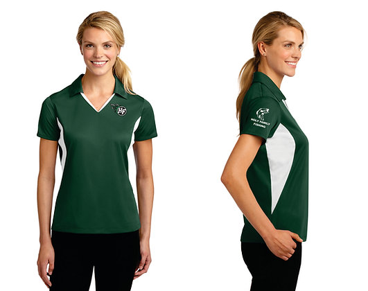 Ladies SportTek LST655 Performance Polo (Forest Green/White)