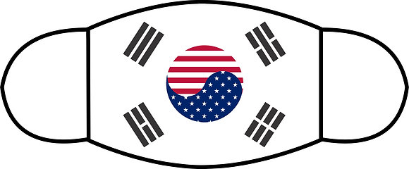 US & Korean Flag Sublimated 3 Layer Face Mask (2 Sizes)