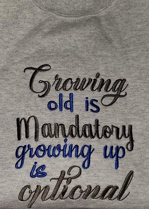 Growing old is Mandatory Lace Up (Hockey) Hoodie