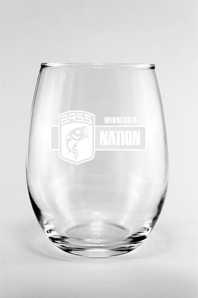 Glass Stemless Wine Glass - Laser Etched MNBN Logo