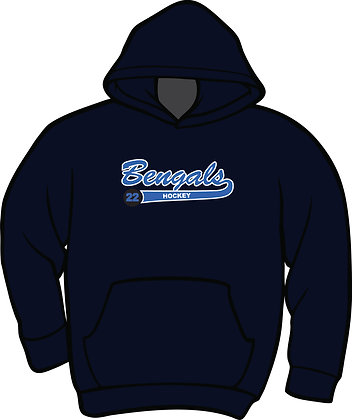 Standard Hoodie w/Hockey Puck - Navy Blue with White & Columbia Blue Twill