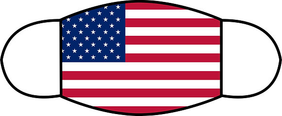 "US Flag Sublimated 3 Layer Face Mask (Sm 6.5"" x 4.3"")"