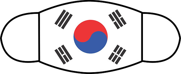 "Korean Flag Sublimated 3 Layer Face Mask (Sm 6.5"" x 4.3"")"