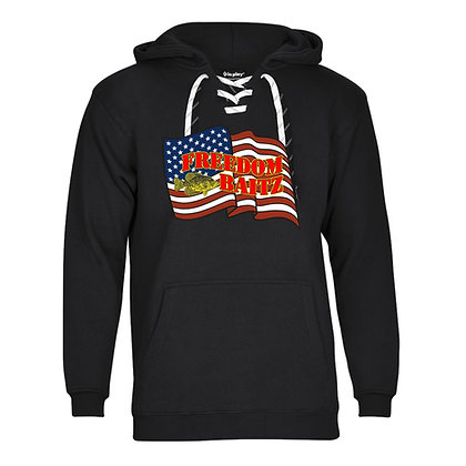 Freedom Baitz Lace Up US Flag Tackle Twill Hoodie (2 Laces Red/Yellow)