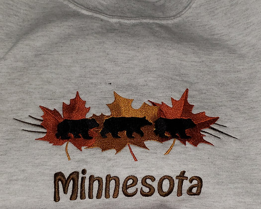 Minnesota Bears and Leaves Crew Neck Sweatshirt