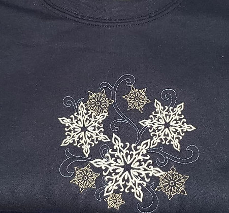 Snowflake Trio Design Lace Up (Hockey) Hoodie