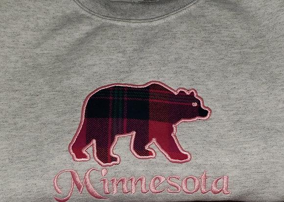 Minnesota Bear Applique Crew Neck Sweatshirt