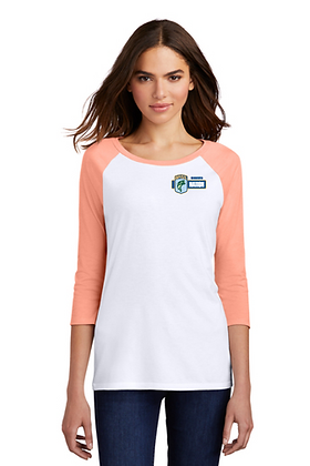 Womens DM136L 3/4 Sleeve Poly Blend TShirt - Screen Printed - Left Crest